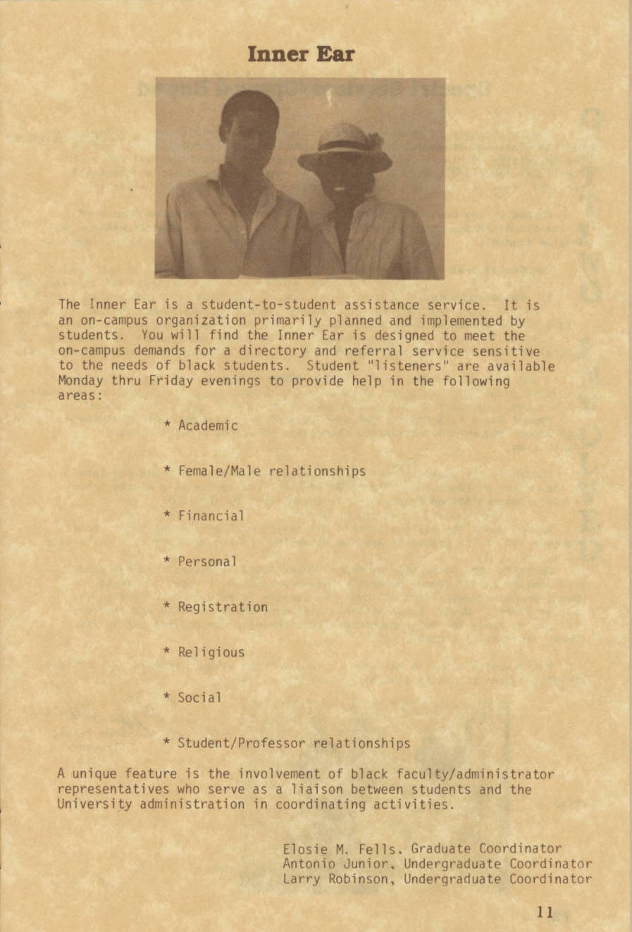 text on parchment paper with black and white photograph