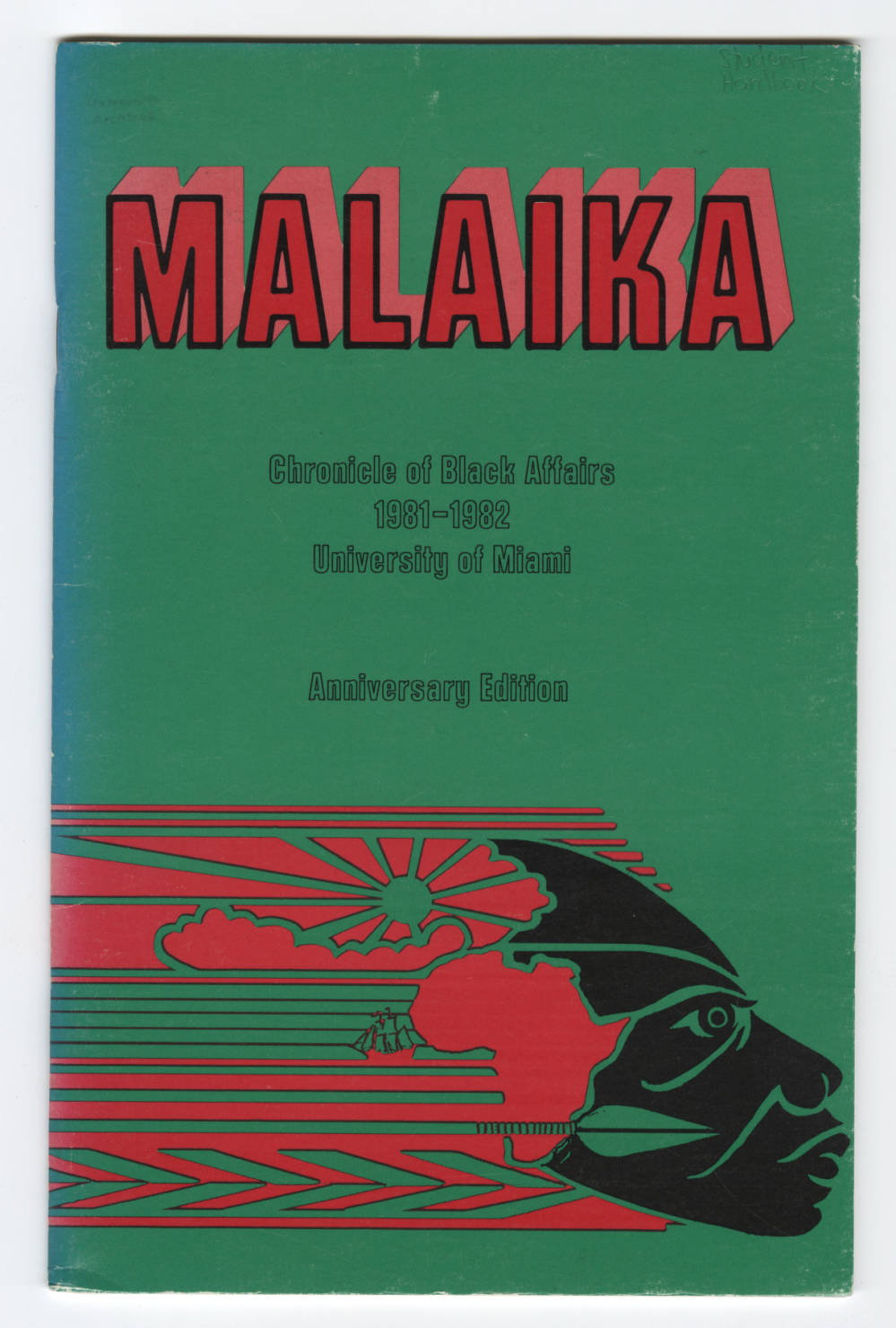 cover of Malaika handbook, green background, red lettering, graphic design