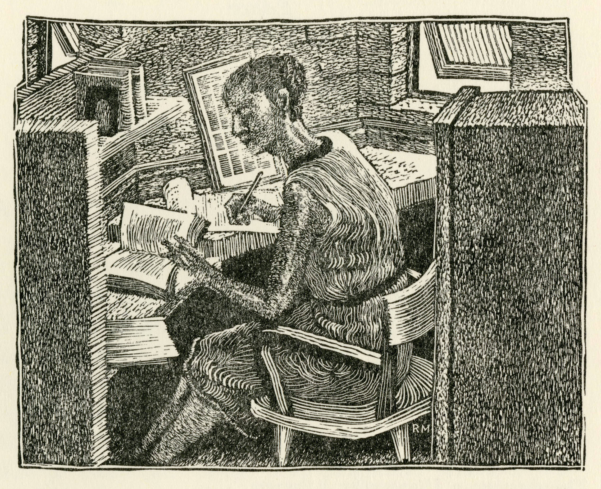 etching of woman at a desk with books; black ink on cream colored paper
