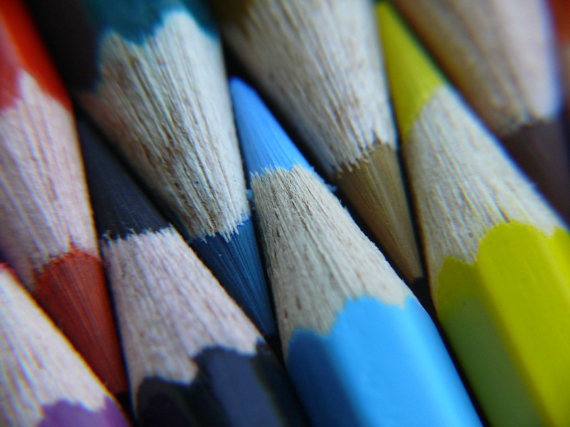 macro photograph of colored pencils