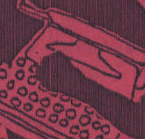 abstracted typewriter in black on red paper
